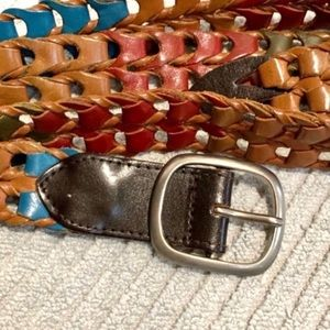 Open Weave Multi-Colored Genuine Leather Belt Sz L